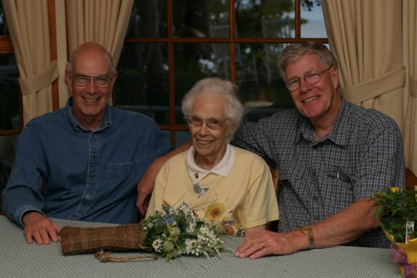Frances'Tan' Hawley at 90 with Bob and Dick