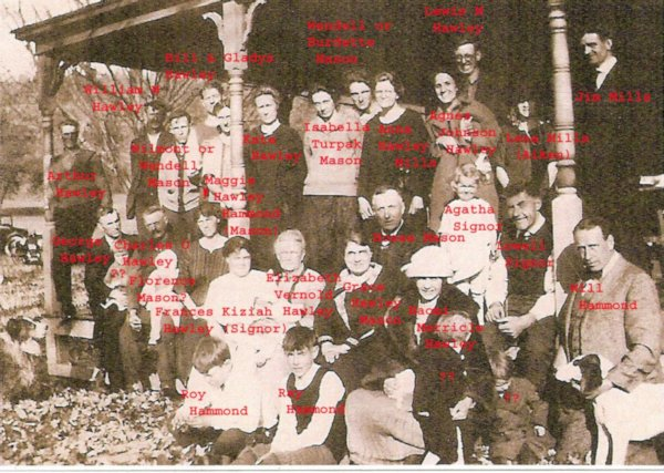 Hawley family reunion ~ 1929 - Annotated